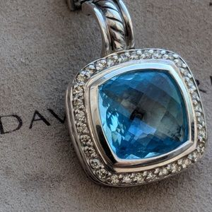 David Yurman 11m Albion Blue Topaz Diamond Pendant